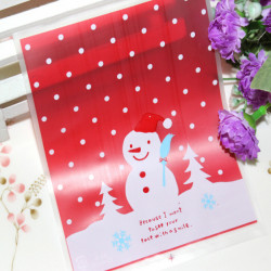 100pcs/lot Lovely Christmas Snowman Cookie Bag Ziplock