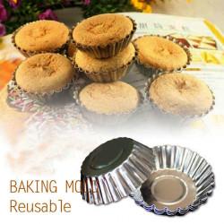 10st Aluminum Alloy Daisy Kopp Pudding Tårta Ägg Tart Form