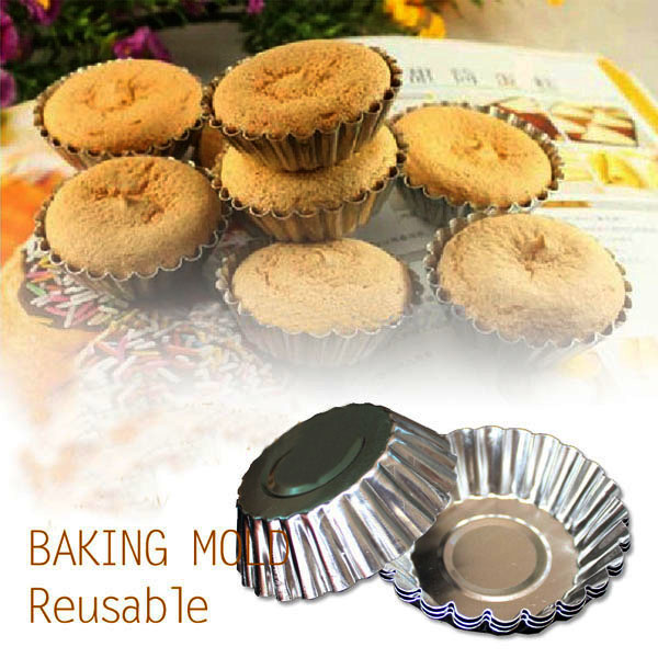10Pcs Aluminum Alloy Daisy Cup Pudding Cake Mold Egg Tart Mould Kitchen,Dining & Bar