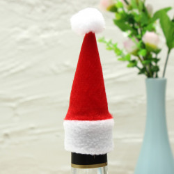 10Pcs Christmas Mini Bottle Cap Wine Bottle Decorated Christmas Hats