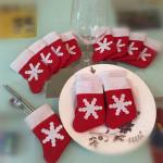 10Pcs/Set Christmas Socks Cutlery Tableware Holder Sets Dinner Decor Kitchen,Dining & Bar