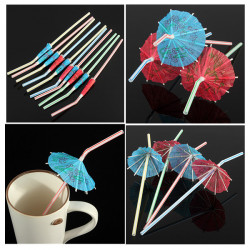 10pcs Cocktail Umbrella Drinking Straw Assorted Party Theme Decoration