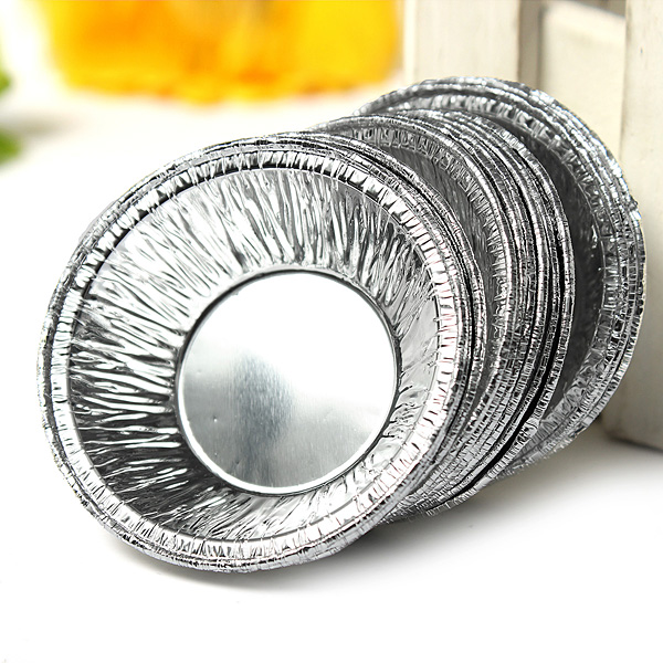 125 pcs Disposable Silver Foil Baking Cookie Cup Cake Tart Mold Round Kitchen,Dining & Bar