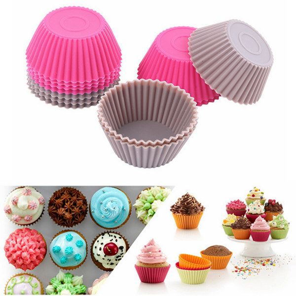 12 PCS Round Silicone Muffin Cup Cupcake Mold Jelly Pudding Mould Kitchen,Dining & Bar
