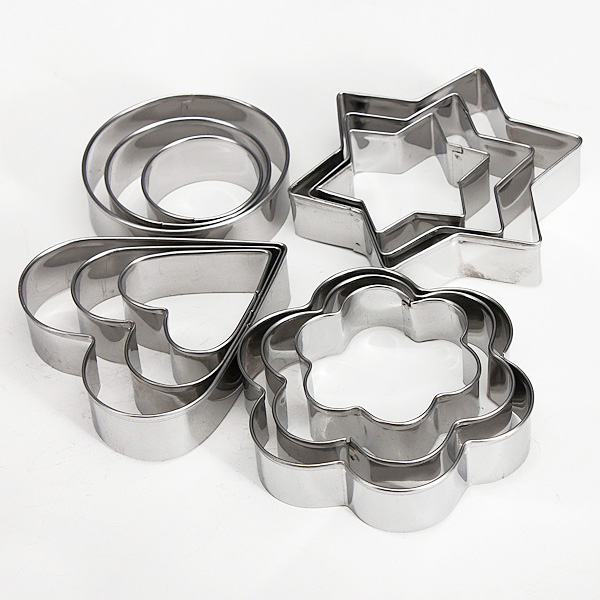 12 Pcs Stainless Steel Flower Heart Biscuit Cake Cookied Mould Cutter Kitchen,Dining & Bar