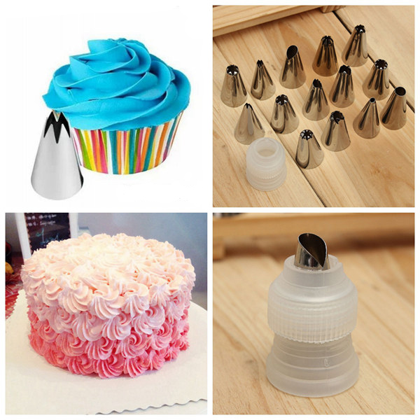 14Pcs Pastry Tube Nozzle Set Cake Mounting Tool with Connector Kitchen,Dining & Bar