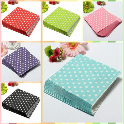 20 PCS Colorful Polka Dots Paper Napkins 2 Layers Party Banquet
