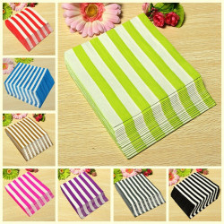 20 PCS Colorful Stripped Paper Napkins 2 Layers Party Banquet