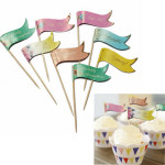 24 Buffet Party Food Kage Cupcake Dekoration Topper Picks Flags Køkken