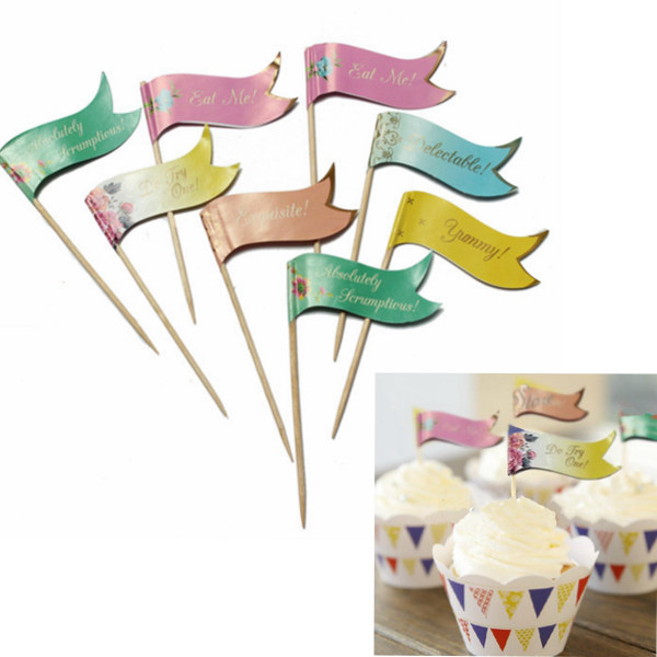 24 Buffet Party Food Cake Cupcake decoration Topper Picks Flags Kitchen,Dining & Bar
