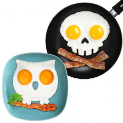 2Pcs Skull And Owl Shaped Fried Egg Mold Breakfast Pancake Mould