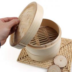 2 Tier Bamboo Steamer Dim Sum Basket Rice Pasta Cooker