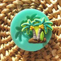 3D Silikon Coconut Palm Tårta Utstickare Fondant Sugar Decoration