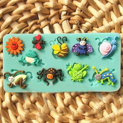 3D Silikonform Fondant Form Djur Insekt Kaka Dekoration Utstickare