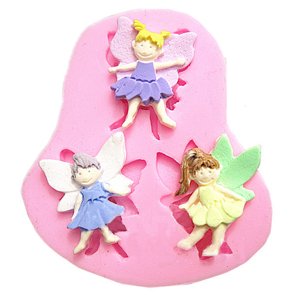 3 Elf Angel Silicone Fondant Mold Chocolate Polymer Clay Mould Kitchen,Dining & Bar