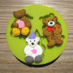 3 Little Bear Silicone Fondant Mold Chocolate Polymer Clay Mould