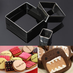 3st Square Cookie Cutters Kex Tårta Rostfritt Stål Form