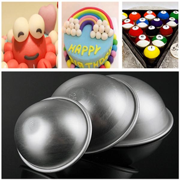 3 Sizes Aluminum Ball Fondant Cake Mold Semicircle Pudding Mold Kitchen,Dining & Bar