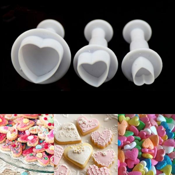 3stk Love Heart Kuchen Zuckersugarcraft Scherblock Werkzeug Spulenkern Küche & Bar
