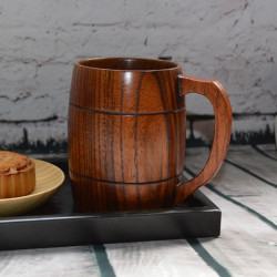 400ml Classical Wooden Beer Cup With Handle Wooden Beer Mug
