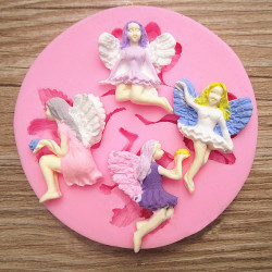 4 Fairy Angel Silicone Fondant Mold Chocolate Polymer Clay Mould