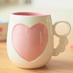 4 Fire Farver Hjerte Clover Keramisk Krus Kop - Pink / Gul / Grøn / Blå Køkken