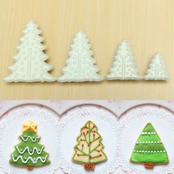 4st Julgran Tårta Cookies Fondant Cutter