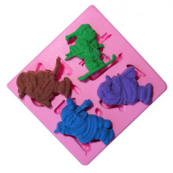4 Santa Silicone Fondant Cake Mold Chocolate Polymer Clay Mould