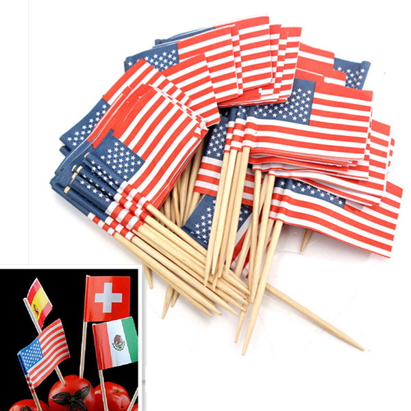 50stk Fødselsdagsfest American USA Flag Cupcake Topper Køkken