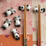 5st Tecknad Panda Ätpinne Uppställning Creative Keramiska Pinnar Uppställning Kök