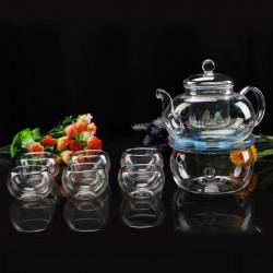 600ml Heat Resistant Glas Blomst Te Pot Set 6 Tekopper Te Warmer