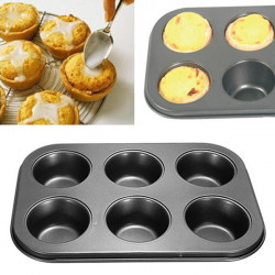 6 Löcher Antihaft Edelstahl Muffin Kuchen Backen Wannen Plätzchen Behälter