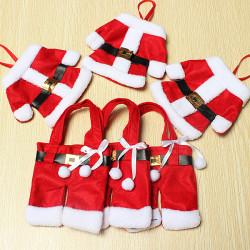 6stk Julemanden Jul Fork Ske Bestik Holder Holiday Decor