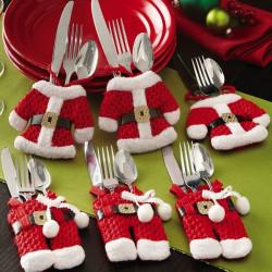6stk / Sæt Jul Bestik Holder Set Bordservice Dinner Party Decor