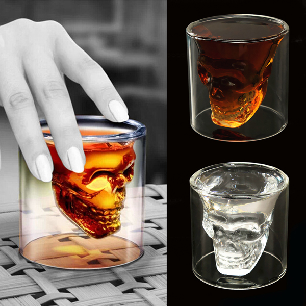 75ml Double Wall Skull Skeleton Whisky Wine Glass Cup Beer Cup Kitchen,Dining & Bar