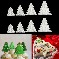 8Pcs Christmas Tree Cookie Cutter Decorating Plunger Cutter Mold