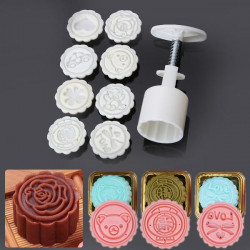 8 Styles Mooncake Mold runde Blumen Heimwerkerutensilien Dekorieren Gebäck