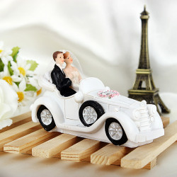 Bride & Groom Sitting In The Bryllup Car Kage Topper Kage Dekoration
