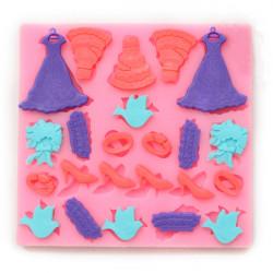 Brud Brudklänning Silikon Fandant Choklad Polymer Clay Form