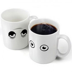 Keramisk Wake-up Kop Eye Open / Close Farveskiftende Mug Sensitive Cup