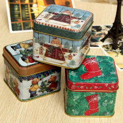 Christmas Pattern Tea Coffee Tin Can Gift Candy Storage Box