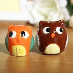 Creative Owl Ceramic Salt And Pepper Seasoning Cans Pepper Pot