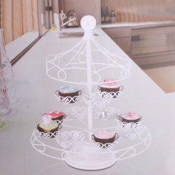 Detachable 2 Tiers Pavilion White Iron Art Cupcake Display Stand