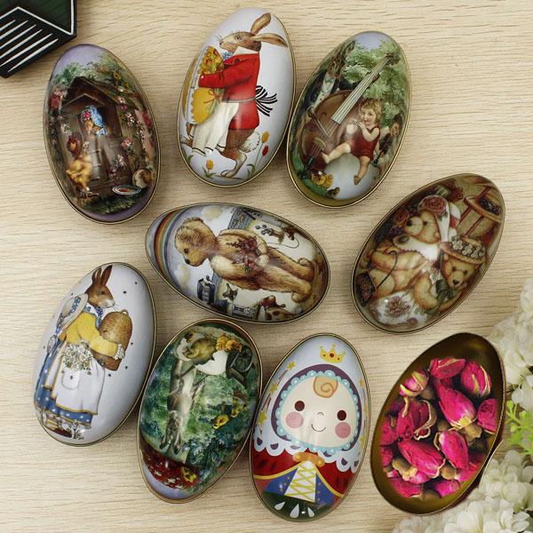 Egg Shapes Iron Seal Tea Storage Candy Tin Box Trinket Gift Kitchen,Dining & Bar
