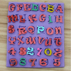 F0328 DIY Silikon Buchstaben und Zahlen Kuchen Form Fondant Seifen Form