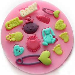 F0486 Silicone Baby Girl Cake Mould Fondant Chocolate Mould Bake Tool