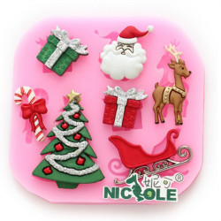F0534 Silicone Christmas Reindeer Cake Mould Soap Chocolate Mould