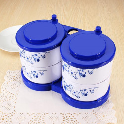Food Grade Kunststoff blau weiße Porzellan Gewürz Box Gewürzdose