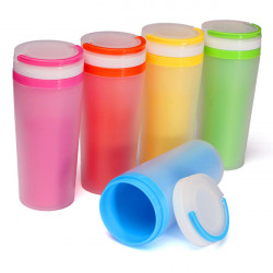 Hand Portable Plastic Water Bottle Cup  Double Layer Frosted Mug