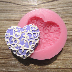 Heart Pattern Silicone Lace Fondant Mold Chocolate Soap Mold